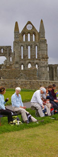 Lunch near Whitby Abbey/ from a photo by Arnold Underwood, May 2009